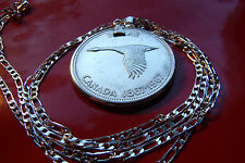 "1967 CANADA SILVER GOOSE DOLLAR COIN Pendant on a 30"" 925 Sterling Silver Chain"