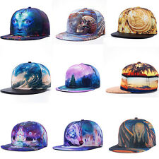 Mens Womens Hiphop Bboy Hat Printed Adjustable Flat Snapback Baseball Dance Cap