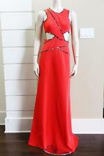 2015 NEW BCBG MAXAZRIA NIKKOLE SLEEVELESS SIDE CUTOUT GOWN in RED $448