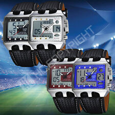 LED Analog Digital Alarm Stopwatch Mens Military Sport Leather Band Wrist Watch