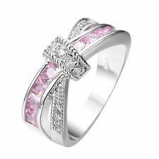 Pink Sapphire Cross CZ Band 10kt White Gold Filled Wedding Party Ring Size 6-10