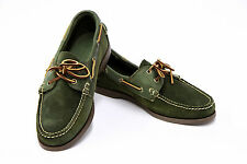 NWOB Ralph Lauren Men's 100% Leather Split Suede Green Lace-Up Boat Shoes