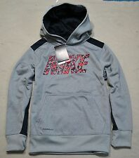 NWT BOYS YOUTH NIKE THERMA-FIT GRAY PULLOVER HOODIE JACKET COAT SZ S-XL