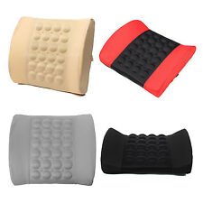 Beige Car Back Lumbar Posture Support Electrical Massage Cushion Pillow 12V WS
