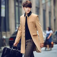 Xmas Men Slim Long Wool blend frock Coat Korean Fashion Jacket Outwear Wind Coat
