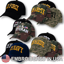 US Military Armed Forces Cap Velcro Hat USA Army Navy Marines Air Force Veteran