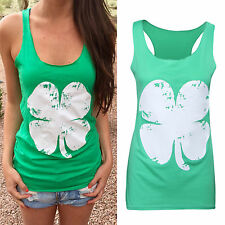 Summer Womens Ladies Clover Casual Tank Tee Sleeveless T-Shirt Blouse Tops Vest