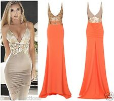 CELEB SEXY CORAL GOLD SEQUIN BACKLESS SLINKY MAXI FISHTAIL PARTY PROM DRESS 8-16