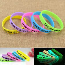 Glow In Dark Silicone Rubber Elasticity Sport Wristband Cuff Bracelet Bangle New