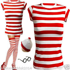 LADIES GIRLS FANCY DRESS WHERE'S WALLY STYLE T-SHIRT HAT GLASSES SOCKS TOP SET