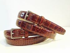 "NEW! REALgenuine  ALLIGATOR crocodile COGNAC BROWN  1"" LEATHER BELT 40 42 M L XL"