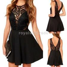 NEW Women Black Floral Lace Mini Dress Deep V Back Open Sexy Party Bodycon Dress