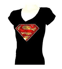 Women's  T-shirts rhinestones Iron on SUPER MAN COLOR Bling, Small to 3XL