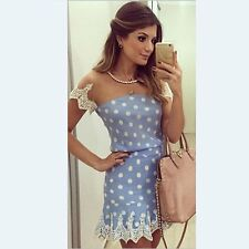 Women Sexy Polka Dot Lace Bodycon Cocktail Evening Party Casual Mini Dress Prom