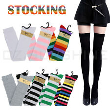 Womens Girls Over Knee Thigh High Plain Striped Over The Knee Warm Socks Ladies