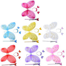 3Pc Set Girls Fairy Costume Butterfly Party Wings Wand Princess Headband Beauty