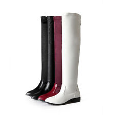 Women's Shoes Synthetic Leather Low Cuban Heel Over Knee High Boots AU Size b201