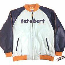 PLATINUM FUBU, FAT ALBERT MEN COWHIDE LEATHER JACKET, FBA99013 GREY/BLUE/ORANGE