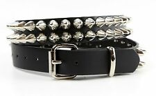 Plus Size Cone Stud 2 Row Leather Belt  Punk Goth Metal Rock Heavy Metal Emo