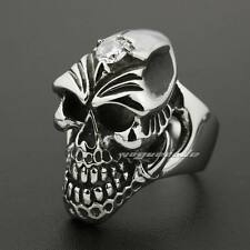 Solid 316L Stainless Steel Huge Skull Claw White CZ Mens Biker Punk Ring 7E001E