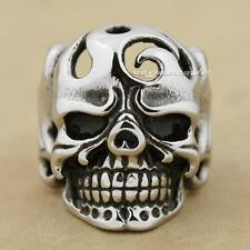 Huge Skull Solid 316L Stainless Steel Mens Biker Rocker Punk Ring 7F001E