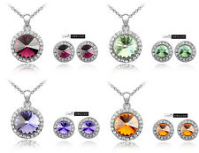 18K White Gold Plated w SWAROVSKI ELEMENTS Angelic Necklace & Earrings Sets S804