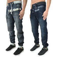 Mens Enzo Cuffed Jogger Jeans Denim Pants Trendy Stylish Designer Bottoms New
