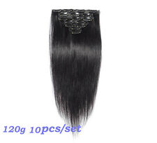 Full Head 10pcs 120g Straight Clip In Human Hair Extensions Weft Natural Black