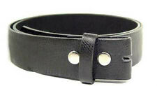 "Genuine Leather Black Belt Strap Soft 1 1/2"" Wide Small 2XL Snap Closure Casual"