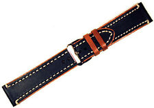 Strapped For Time Black and Tan Genuine Leather Watch Band, 18mm