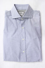 ".NWT $570 Brunello Cucinelli Men's Blue Geometric Print ""Slim Fit"" Dress Shirt"