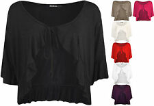 New Womens Plain Tie Up Short Sleeve Ladies Frill Shrug Top Plus Size