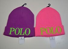 NWT POLO RALPH LAUREN KNOCK OUT BEANIE HAT ONE SIZE PURPLE, PINK