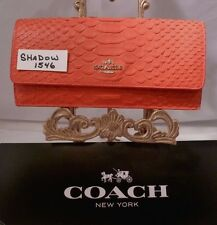 NWT COACH Slim Soft Wallet In Watermellon Python Embossed Leather 53307