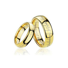 Men's and Women's Gold Plated Tungsten Lord of the Rings Wedding Band Ring TR01