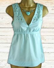 BIG BRAND Turquoise Cotton Broderie Anglais Sleeveless Top | SALE | 1/2 Price