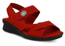 Spring Step Women's Divertente Casual Ankle Strap Sandals Red Nubuck