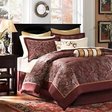 12pc Burnt Red Jacquard Weave Complete Comforter Set AND 200TC Sheet Set