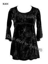 Witchy crushed velvet black long top with lacy georgette sleeves, wiccan gothic