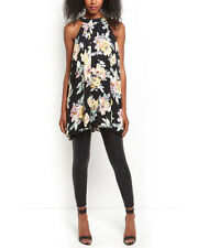 Gorgeous Cameo Rose Black Floral Sleeveless Swing Top Tunic