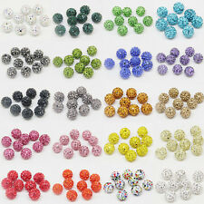 50Pcs Czech Crystal Rhinestones Pave Clay Round Disco Ball Spacer Bead DIY 10MM