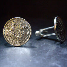 Fathers day LUCKY SIXPENCE 6d COIN CUFFLINKS PICK YOUR YEAR 1947 - 1967