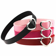 Women Punk Style Goth PU Leather Heart Buckle Collar Choker Chain Necklace Men