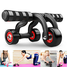 Muscle Exercise 3-Wheel Roller Abdominal Workout Fitness Home Gym with Knee Pad