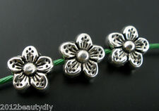 Wholesale Silver Tone Flower Spacer Beads 9mm
