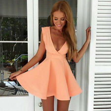 Fashion Women Mini Sleeveless Deep V Neck Low-cut Skirt Dress Clothes Pop