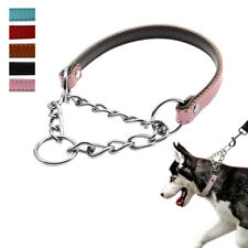 Martingale PU Leather Dog Pet Collar with Chain Safety for Training Dogs14-22''