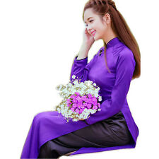 AO DAI Vietnam CUSTOM MADE, Dark BLUE SILK Dress, Black SATIN Pant, Ao Dai