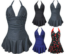 Retro Vintage Polka Dot One Piece Tankini Dress Pin Up Bikini Monokinis Swimsuit