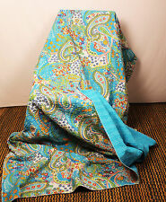Indian Handmade Throw Quilt Kantha Bedspread Throw Cotton Blanket Ralli Bedding
